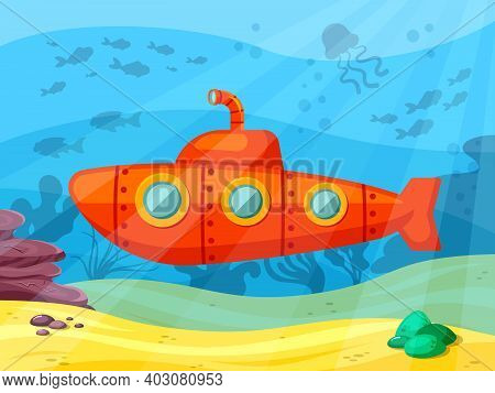 Submarine Explores Ocean Depths Illustration. Red Bathyscaphe With Extended Periscope Sails In Coral