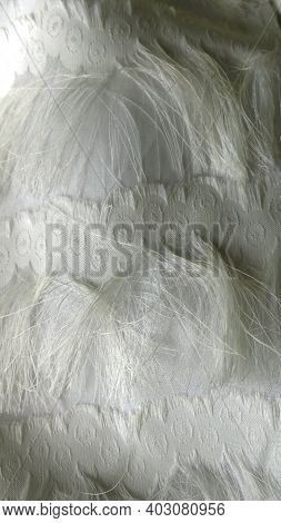 White Threads And White Embroidery In A Fragment Of An Elegant Dress Close-up, A Light Fabric Backgr