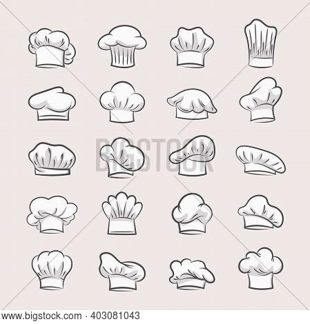 Professional Chefs Hats Set. Headgear Contours For Confectioner And Pastry Bakers Fashionable Unifor
