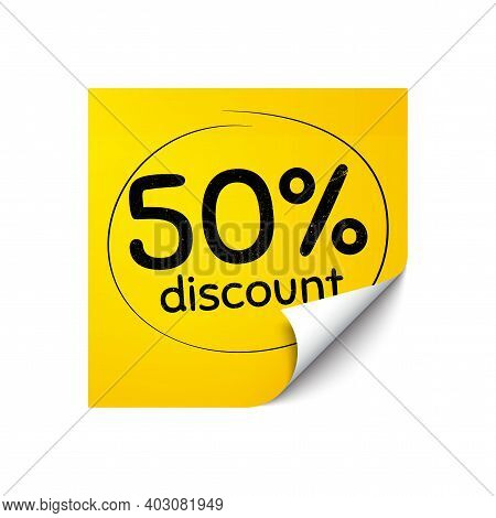 50 Percent Discount. Sticker Note With Offer Message. Sale Offer Price Sign. Special Offer Symbol. Y