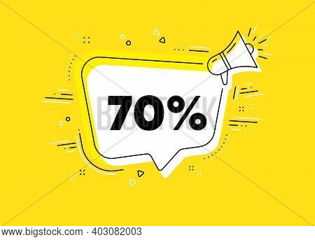 70 Percent Off Sale. Megaphone Yellow Vector Banner. Discount Offer Price Sign. Special Offer Symbol