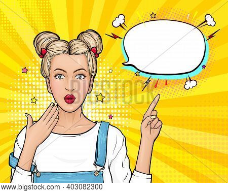 Modern Surprised Woman Wow Face. Young Wonder Girl With Blonde Hair, Open Mouth Point Finger To Empt