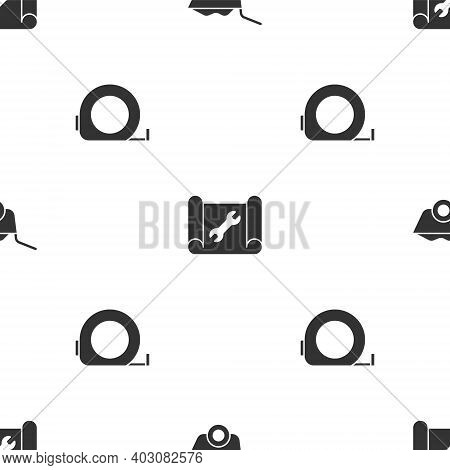 Set Wheelbarrow, Graphing Paper And Wrench And Roulette Construction On Seamless Pattern. Vector