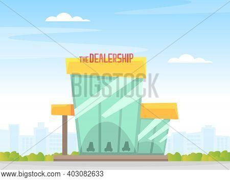 Dealership Center, Exhibition Pavilion, Showroom, Car Center Or Auto Service Cartoon Vector Illustra