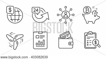 Bitcoin Coin, World Money And Accounting Report Line Icons Set. Debit Card, Wind Energy And 24 Hours