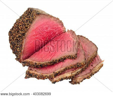 Rare Cooked Roasted Pepper And Salt Covered Beef Rump Joint Also Known As A Picanha Cut And Sirloin