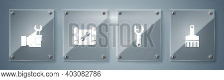 Set Paint Brush, Adjustable Wrench, Graphing Paper And And Wrench Spanner. Square Glass Panels. Vect