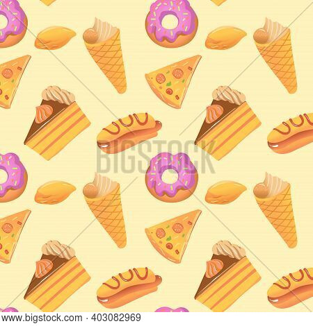 Seamless Pattern On The Topic Of Very High-calorie And Delicious Food