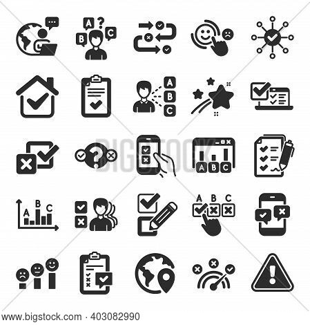 Survey, Report Review Icons. Opinion, Customer Satisfaction Feedback And Test Icons. Checklist Revie