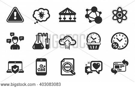 Energy, Heart And Chemistry Lab Icons Simple Set. Conversation Messages, Refresh Website And Integri