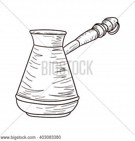 Coffee Turk, Cezva, Brown Contour Drawing Isolated On White Background, Stock Vector Illustration Fo