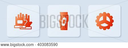 Set Plaster On Leg, Gloves And Bicycle Sprocket Crank. White Square Button. Vector