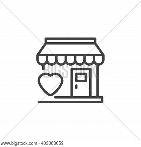 Favorite Shop Line Icon. Linear Style Sign For Mobile Concept And Web Design. Store And Heart Outlin