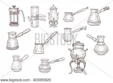 Coffee Maker Set, Vintage Coffee Turks In Sketch Style, Isolated Outline, Vector Drawing, For Design