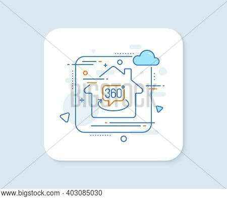 360 Degree Line Icon. Abstract Vector Button. Vr Technology Simulation Sign. Panoramic View Symbol.