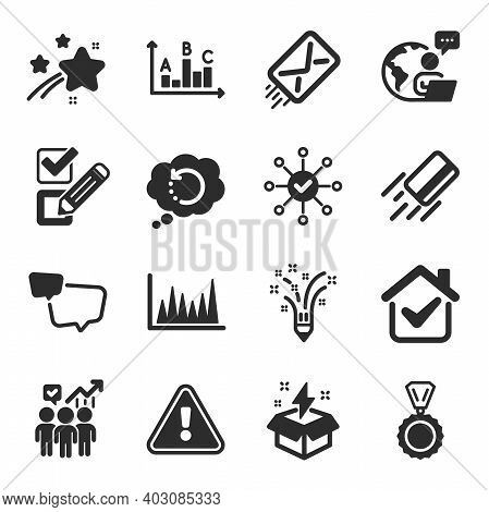 Set Of Education Icons, Such As Line Graph, Survey Check, Creative Idea Symbols. Checkbox, Medal, Cr