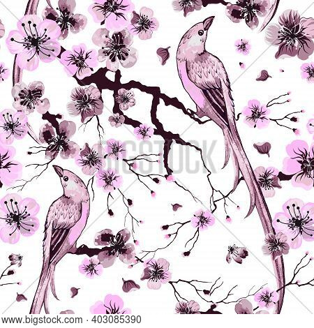 Floral Watercolor Texture Pattern With Sakura Flowers And Birds