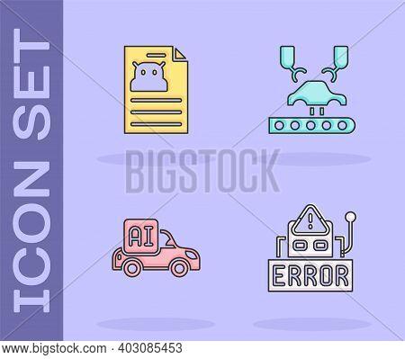 Set Error In Robot, Technical Specification, Autonomous Smart Car And Robotic Arm Factory Icon. Vect