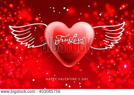 Valentines Day Poster. True Love. Romantic Composition With Winged Heart. Celebration Posters, Websi