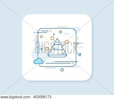 Pyramid Chart Line Icon. Abstract Square Vector Button. Analytics Graph Sign. Market Analytics Symbo