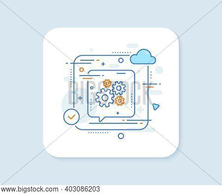 Cogwheel Line Icon. Abstract Vector Button. Engineering Tool Sign. Cog Gear Symbol. Cogwheel Line Ic