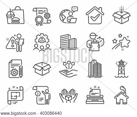 Industrial Icons Set. Included Icon As Documentation, Architectural Plan, Lighthouse Signs. Engineer