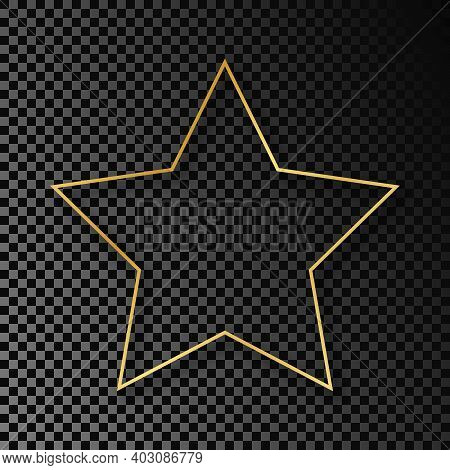 Gold Glowing Star Shape Frame With Shadow Isolated On Dark Transparent Background. Shiny Frame With