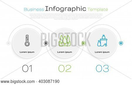 Set Line Meteorology Thermometer, Forest And Full Dustbin. Business Infographic Template. Vector