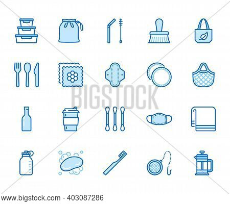 Zero Waste Products Flat Line Icons Set. Reusable Bottle, Wooden Cutlery, Metal Straw, Period Pad, F