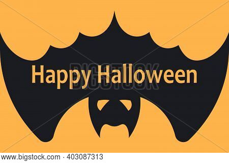 Halloween Background With Bat And Happy Halloween Lettering . Vector Illustration