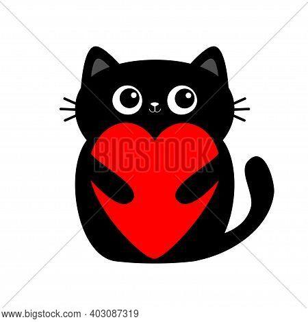 Black Cat Kitten Kitty Holding Big Red Heart. Cute Cartoon Kawaii Funny Animal Baby Character. Flat