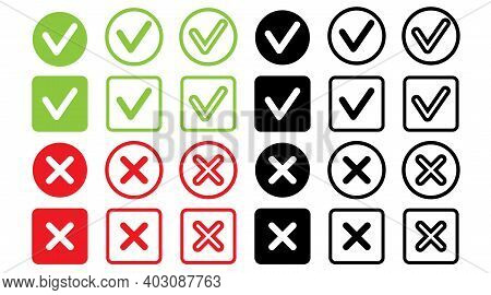 Check Icon Right Wrong Marks And Red Crosses Signs Set Of Flat Vector Mark Buttons Green .vector Ill