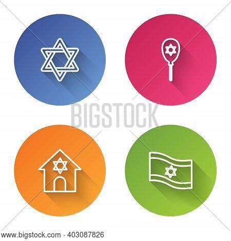 Set Line Star Of David, Balloon With Star David, Jewish Synagogue And Flag Israel. Color Circle Butt