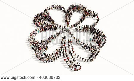 Concept or conceptual large gathering of people forming an image of a four-leafed clover.  A 3d illustration metaphor for good luck, faith, hope, love, tradition, nature, growth and spring