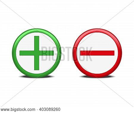 Green Plus Sign And Red Minus Sign Isolated On A White Background. 3d Rendering