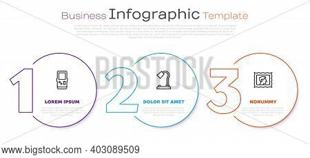 Set Line Tetris, Table Lamp And Postal Stamp. Business Infographic Template. Vector