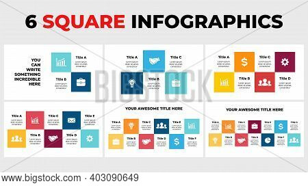 6 Squares Vector Infographics. Presentation Slide Template. Data Timeline Visualization. 2, 3, 4, 5,