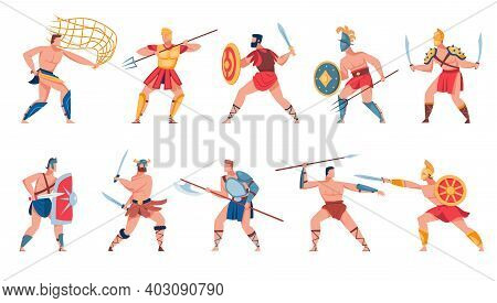Ancient Roman Soldiers Set. Greek Warriors, Gladiators, Mythology Characters, Spartan Soldiers With