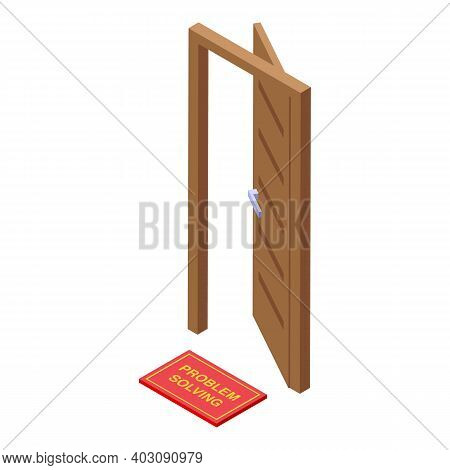 Door Problem Solving Icon. Isometric Of Door Problem Solving Vector Icon For Web Design Isolated On