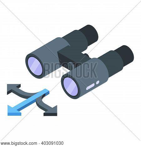 Binoculars Problem Solving Icon. Isometric Of Binoculars Problem Solving Vector Icon For Web Design