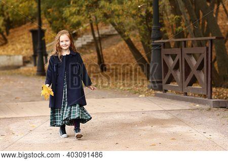 Irish Little Girl Outdoor Photo On Fall Landscape Background