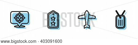 Set Line Jet Fighter, Target Sport, Military Rank And Dog Tag Icon. Vector