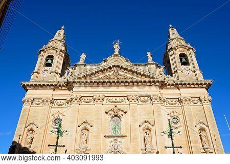 Front View Of Naxxar Parish Church, Naxxar, Malta, Europe.