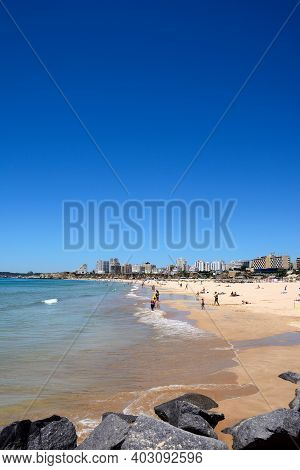 Portimao, Portugal - June 7, 2017 - View Along The Beach With Apartments And Hotels To The Rear And