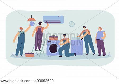 Handymen Repairing Clients Home Appliance. Service Man End Electrician Fixing Washing Machine, Air C