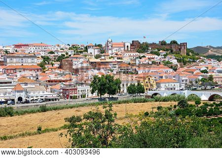 Silves, Portugal - June 10, 2017 - Elevated View Of The White Town With The Castle To The Right Hand