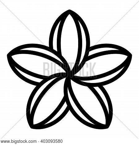 Plumeria Blossom Icon. Outline Plumeria Blossom Vector Icon For Web Design Isolated On White Backgro
