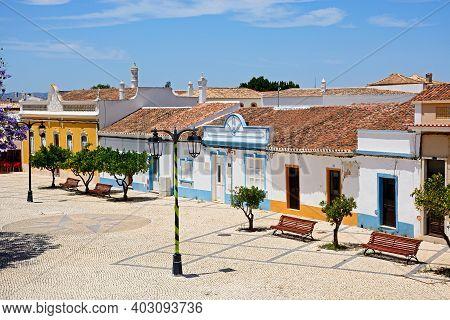 Castro Marim, Portugal - June 11, 2017 - Traditional Portuguese Buildings In The 1st May Square (pra