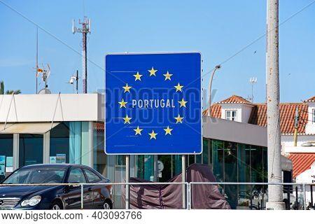 Vila Real De Santo Antonio, Portugal - June 11, 2017 - Blue European Union Portugal Sign Along The W