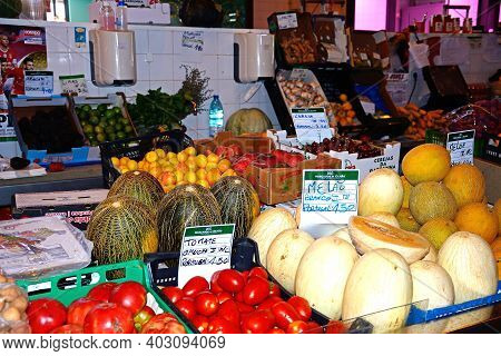 Olhau, Portugal - June 12, 2017 - Fruit And Vegetable Stall In The Indoor Market, Olhau, Algarve, Po